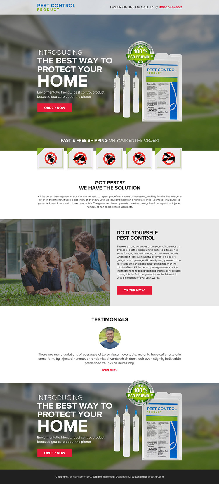 pest control product selling responsive landing page design