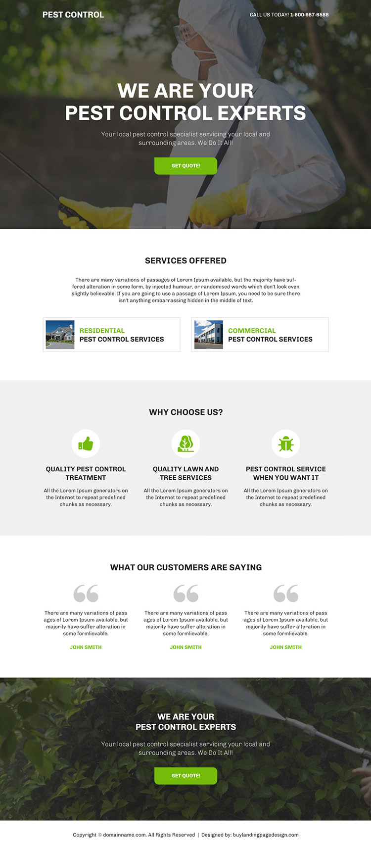 pest control experts bootstrap landing page design