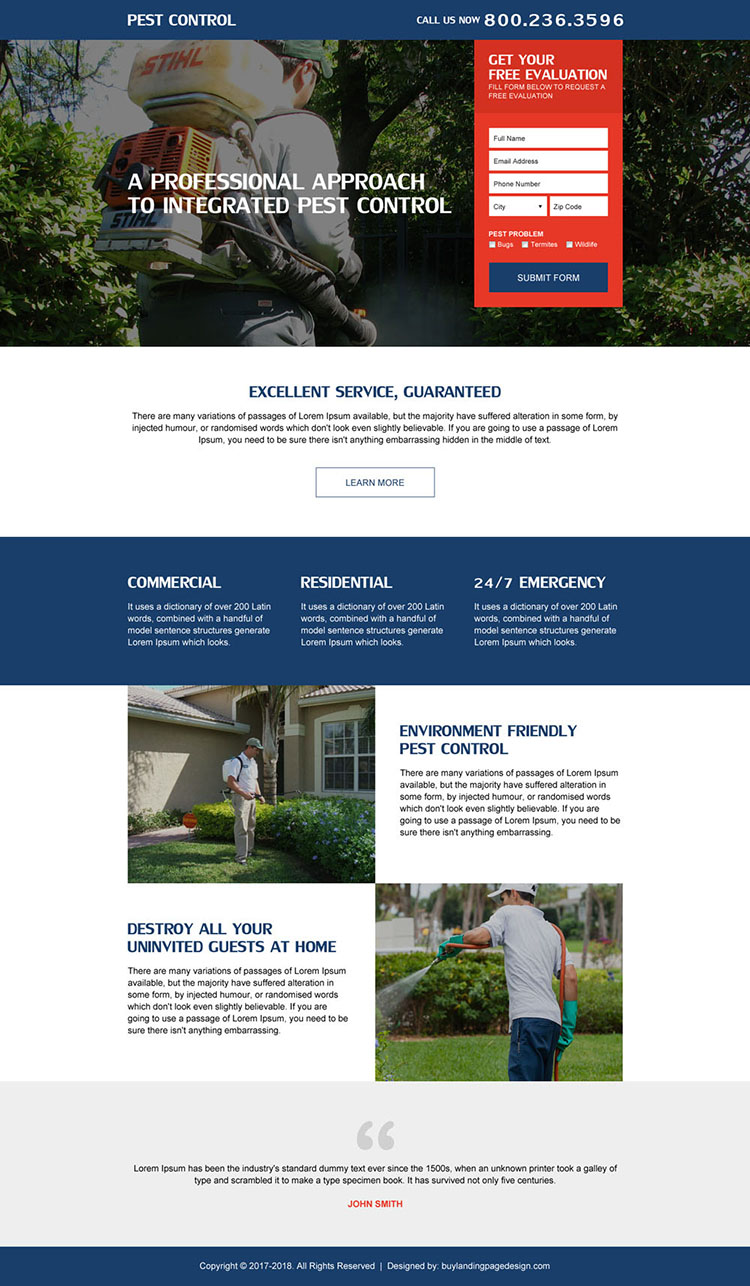 pest control service modern lead form landing page