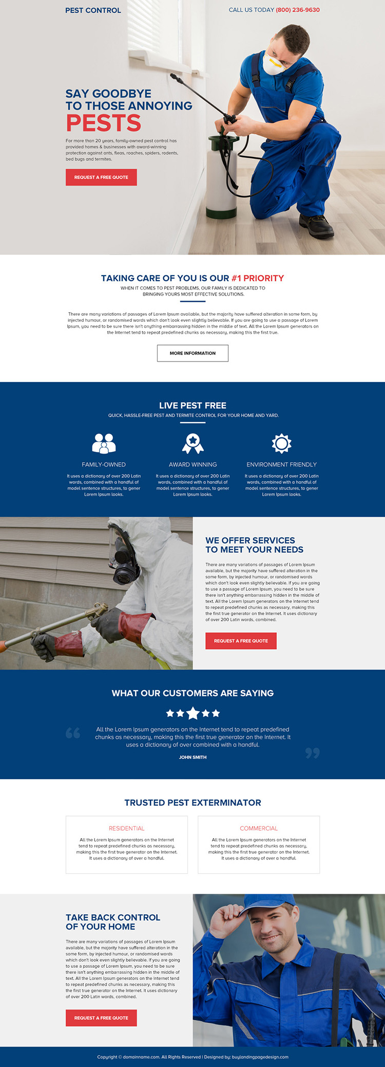 pest control services responsive landing page design