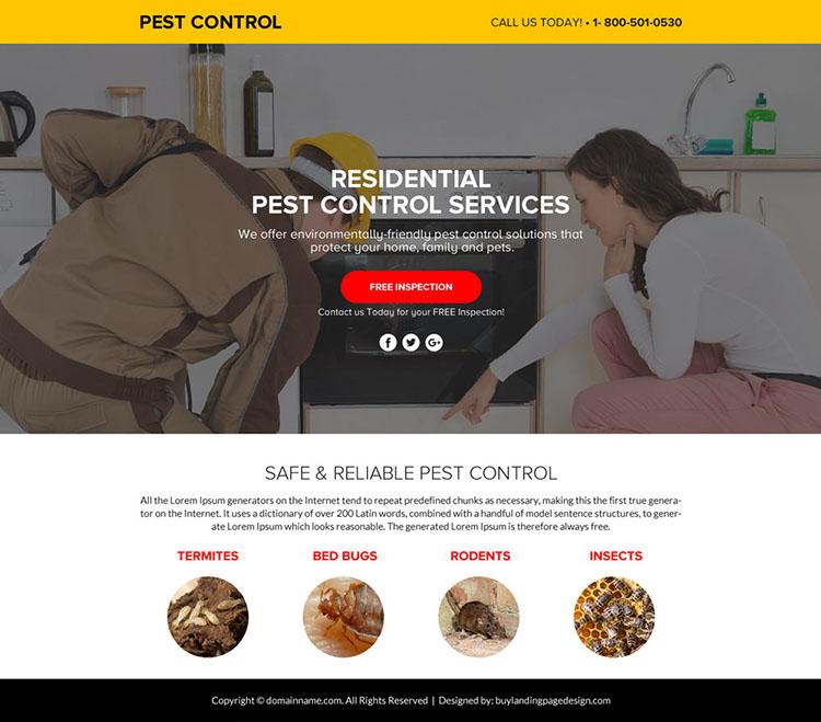 pest control service lead funnel responsive landing page design