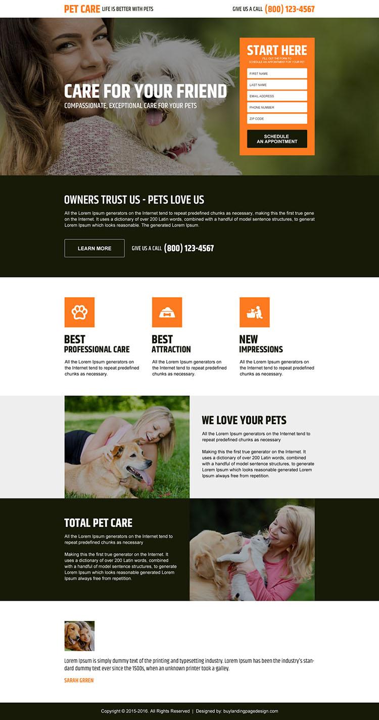 pets care service responsive landing page design