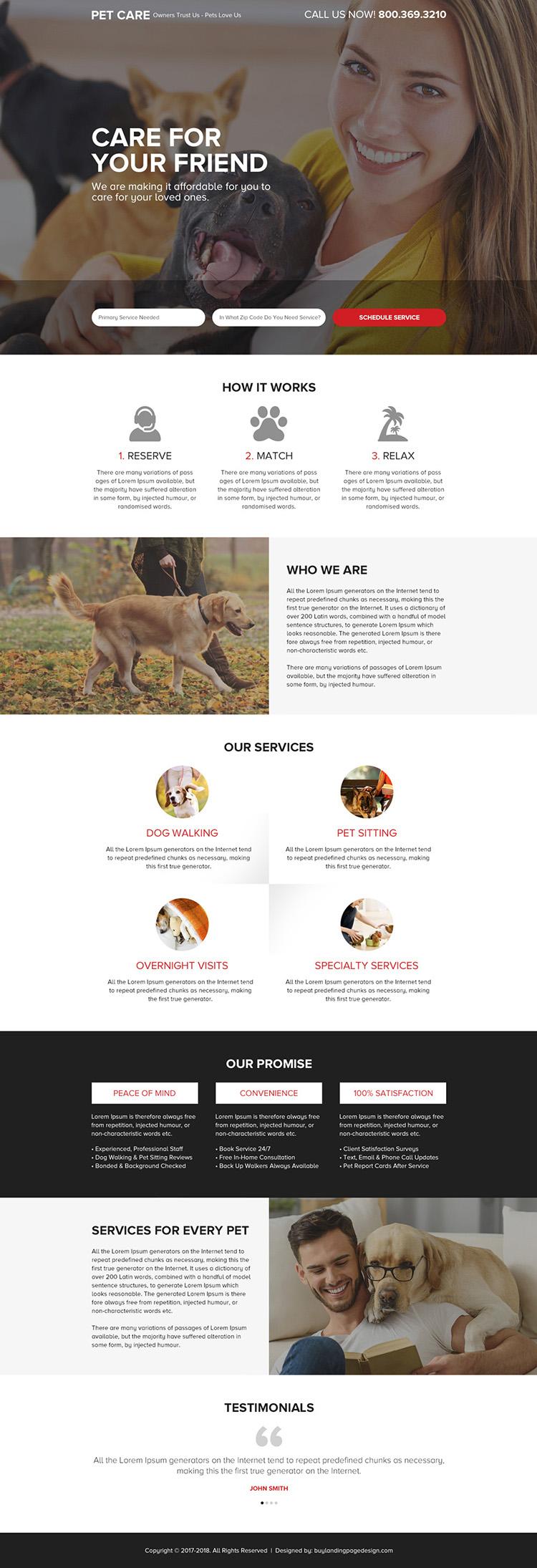 pet care service responsive landing page