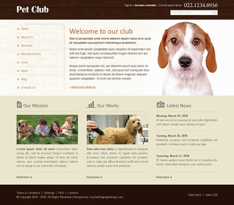 pets club website template design psd for sale