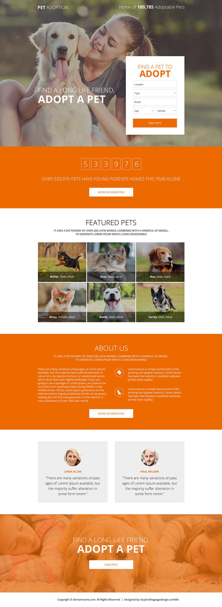 pets adoption responsive lead capture landing page
