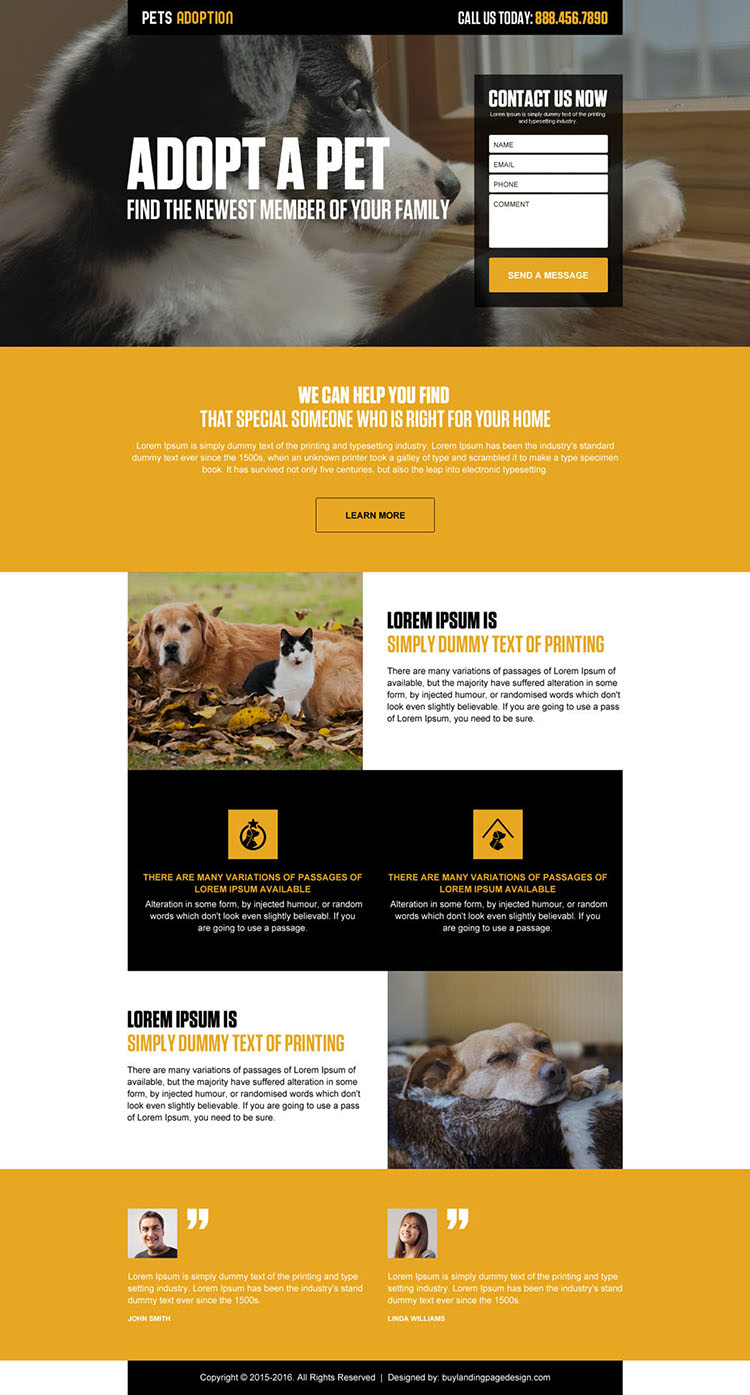 pets adoption lead generating landing page design