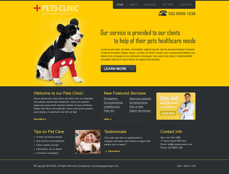 pets clinic website template design psd for sale