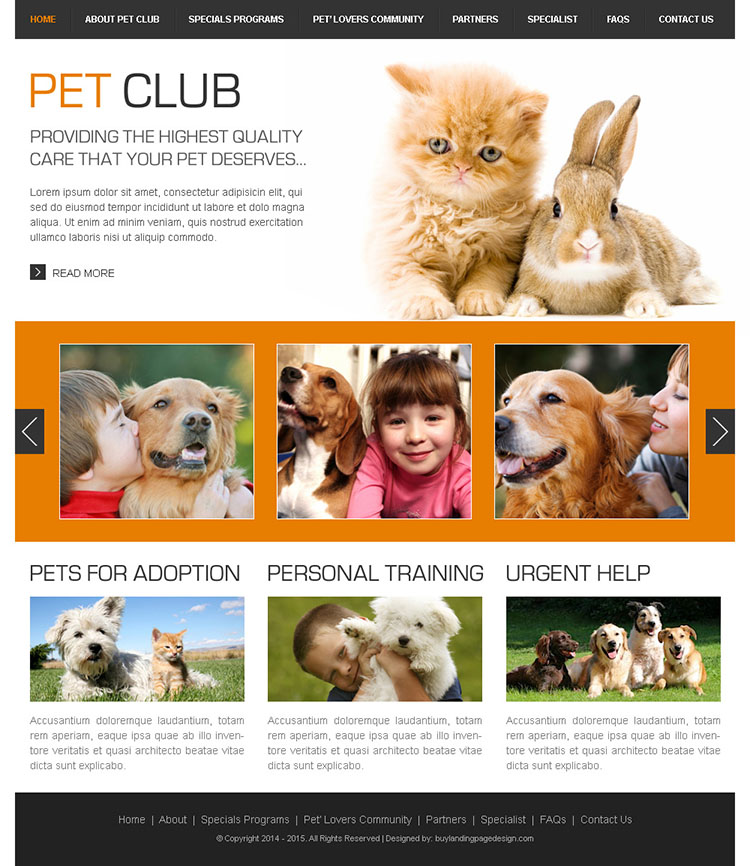providing the highest quality care your pets deserve html website template