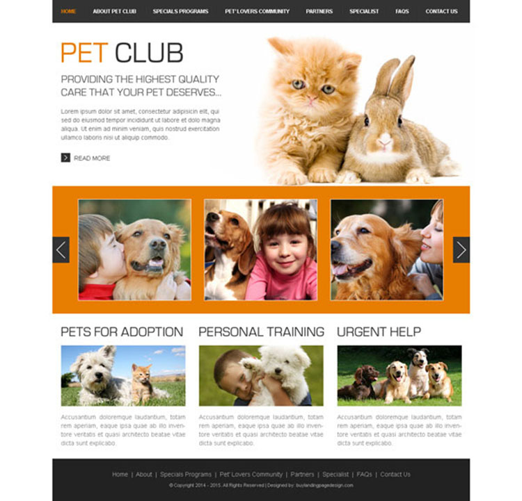 pets club clean website template design PSD