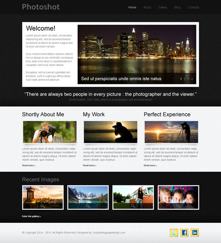 professional photo shoot website template design psd