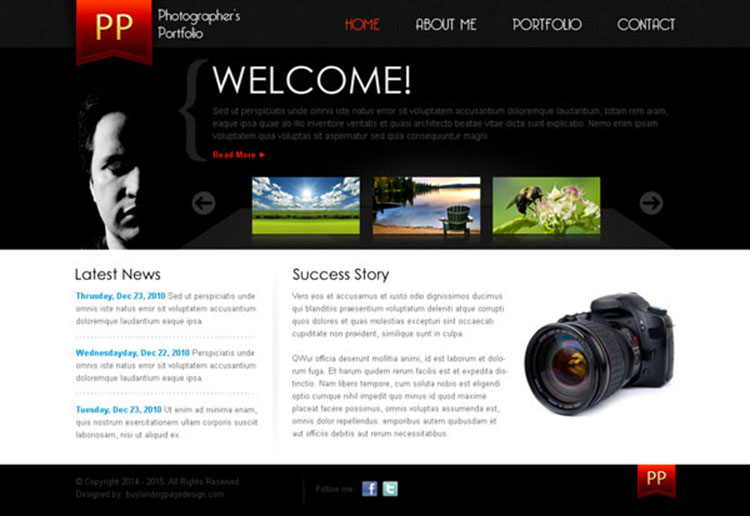 simple and clean photographers portfolio website template design psd