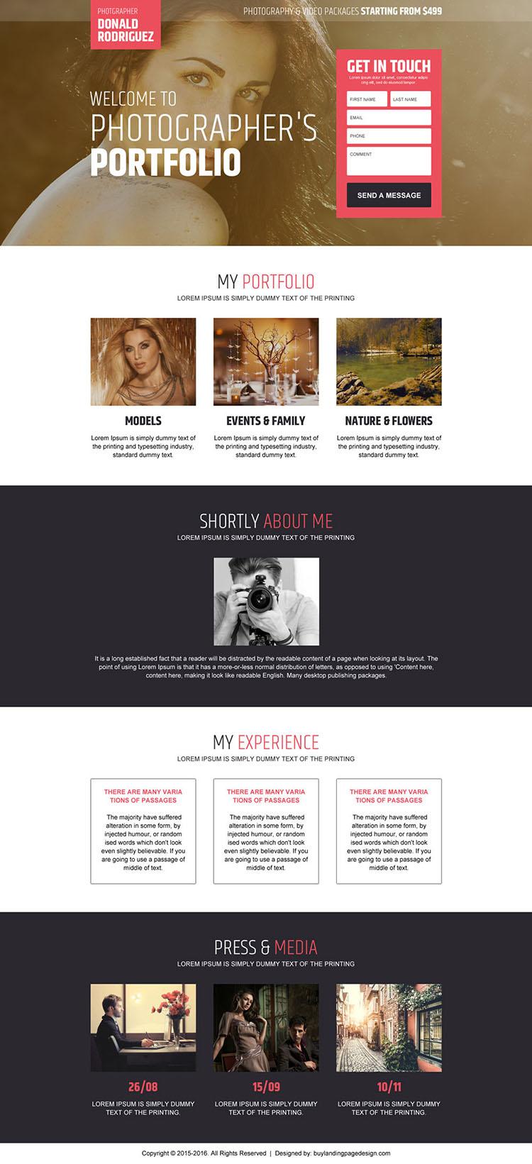 photographers portfolio converting landing page design