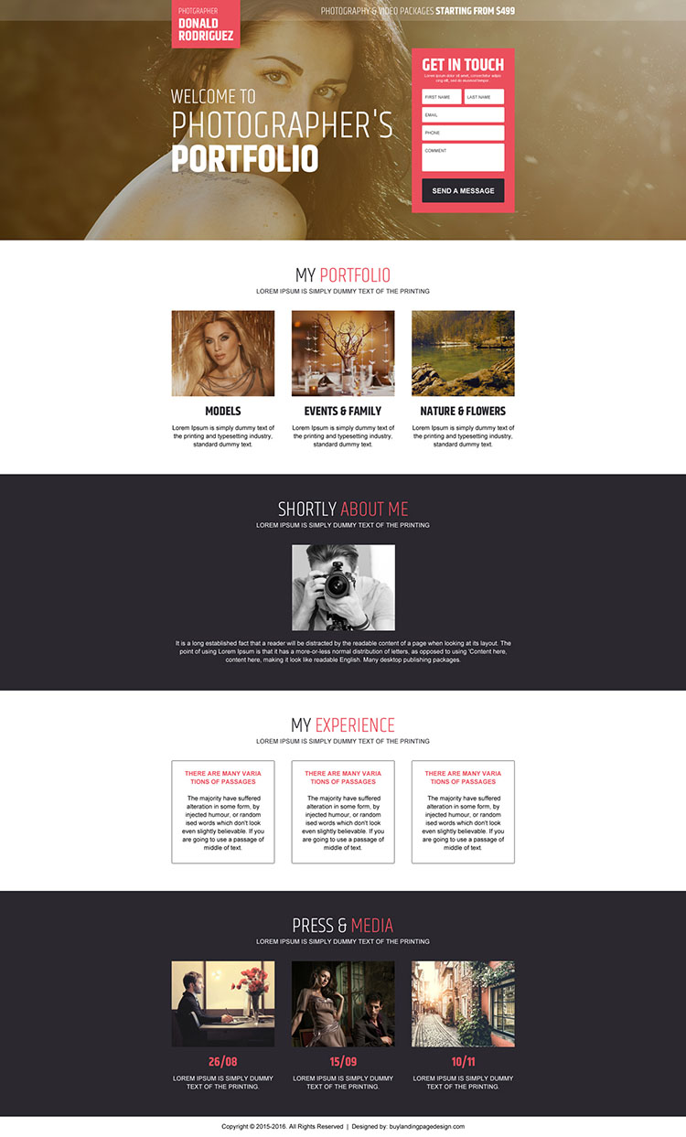 responsive photographers portfolio showcasing landing page design
