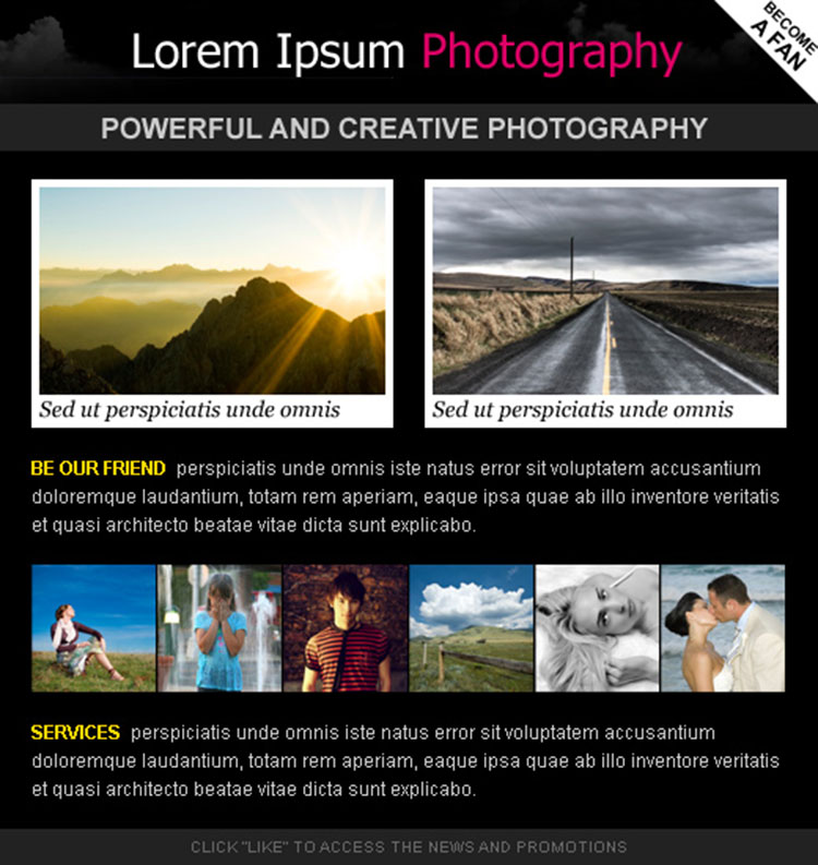 attractive photography html facebook fan page design template