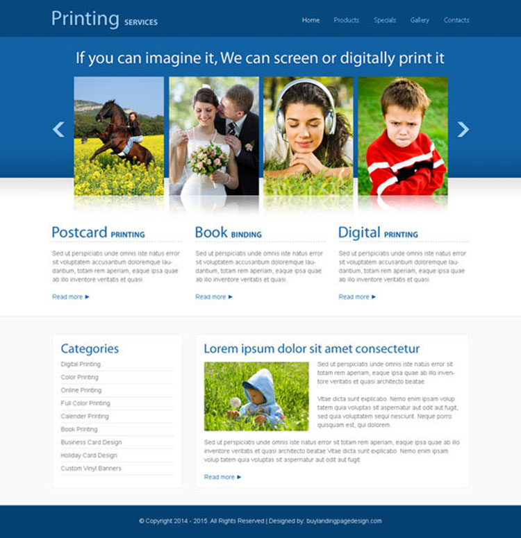 photography printing service clean and minimal looking website template design psd