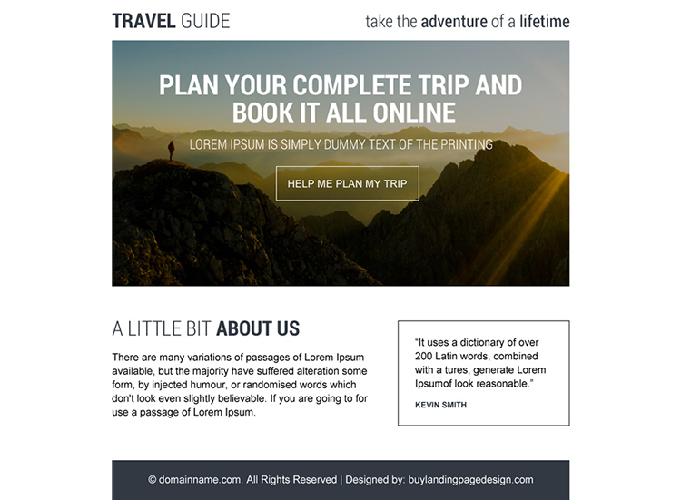 professional travel guide ppv landing page design