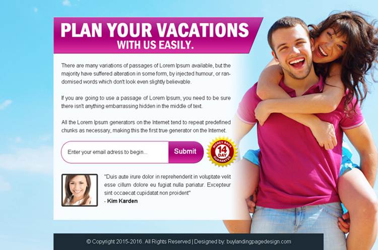 plan your vacations with us easily ppv landing page design
