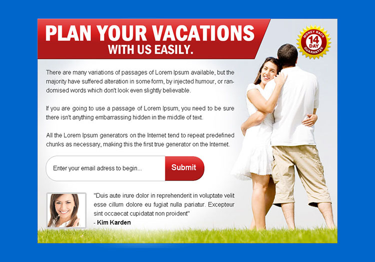 plan your vacations pay per view landing page design