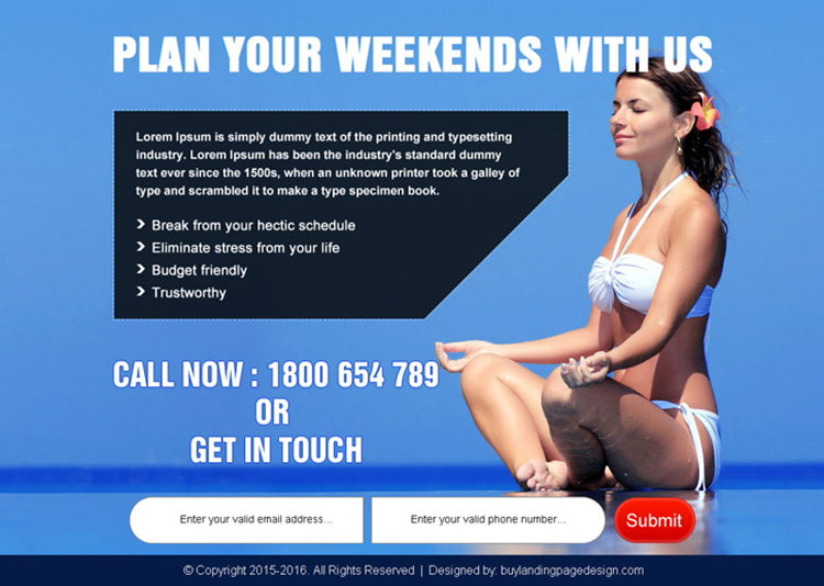 plan your weekend travel lead capture ppv landing page design