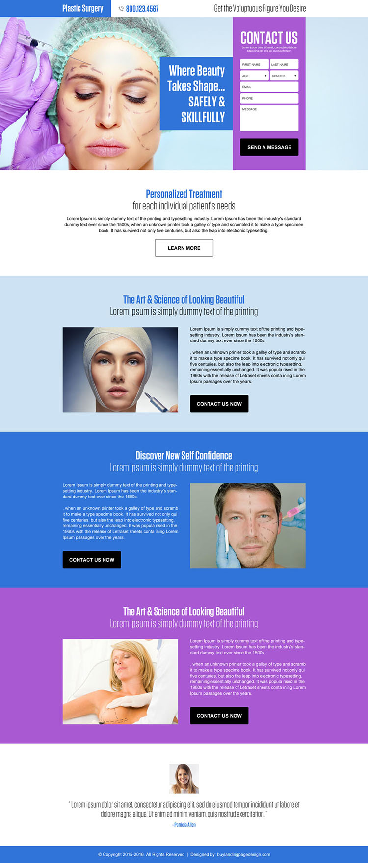plastic surgery lead generating converting landing page design