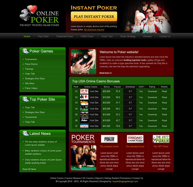 the trusted online poker game website template design psd