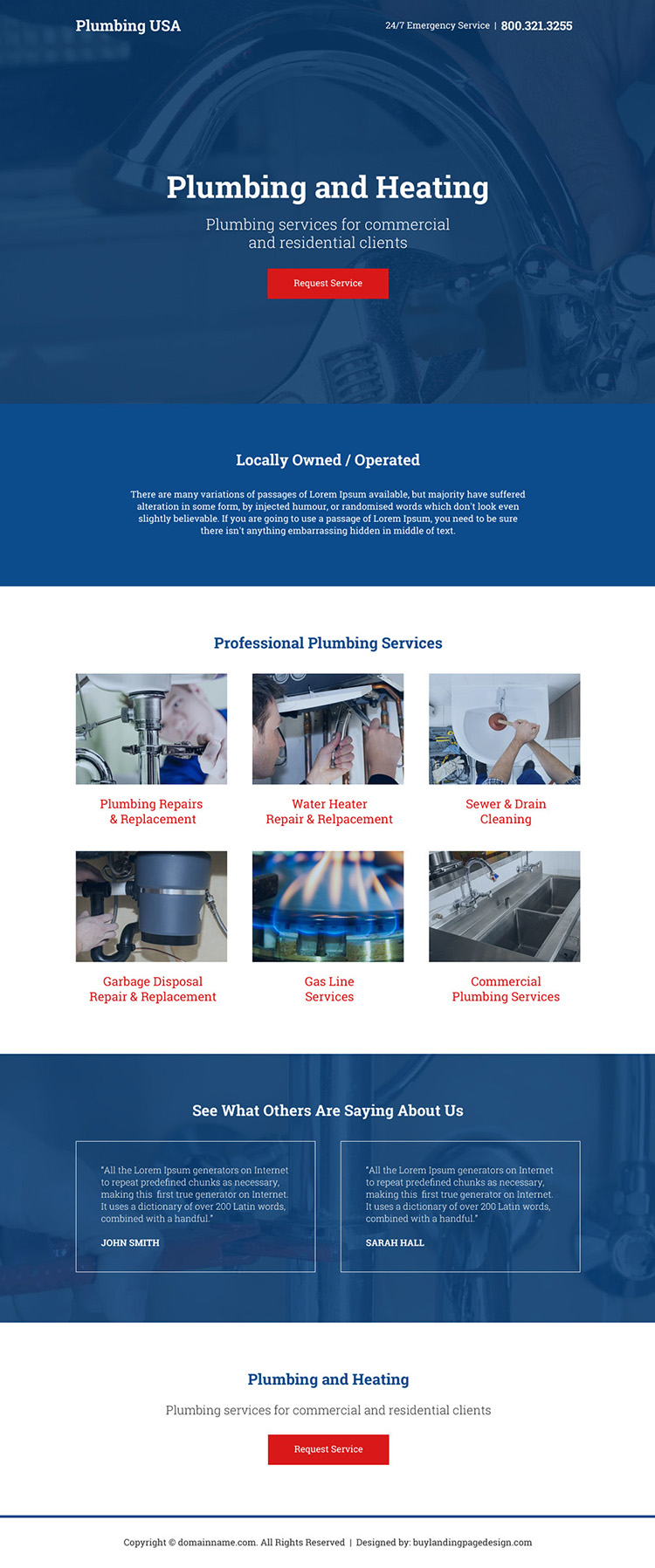 professional plumbing and heating services landing page