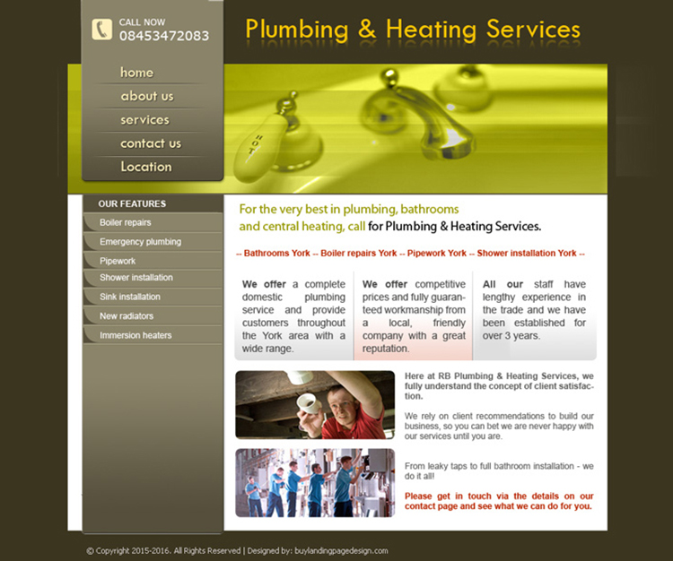 plumbing and heating services website design template for sale