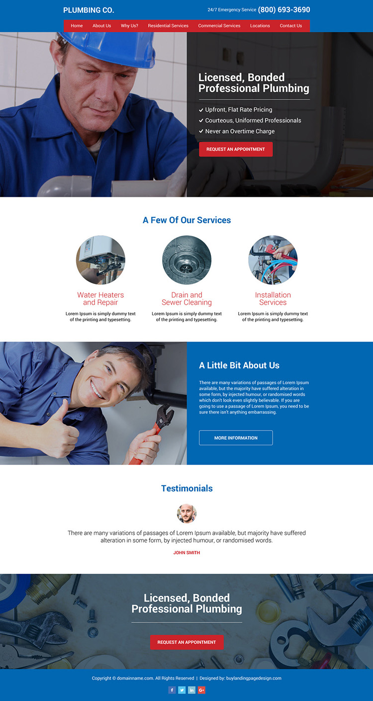 plumbing services professional and clean website design