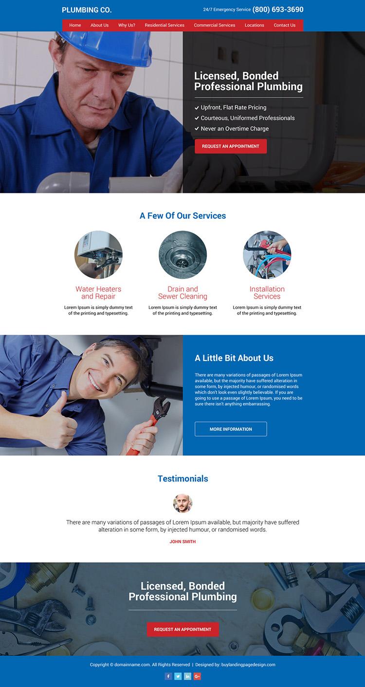 plumbing company responsive website design