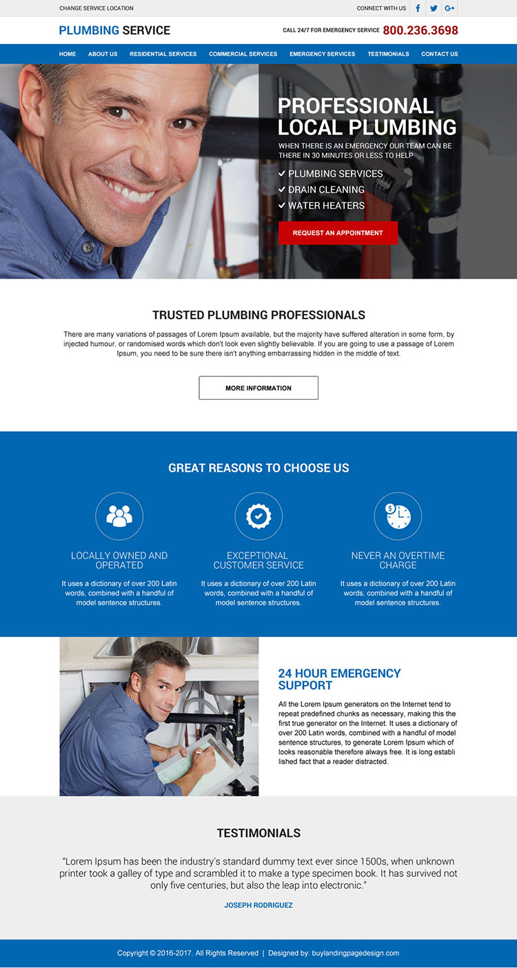 professional local plumbing service lead generating html website design