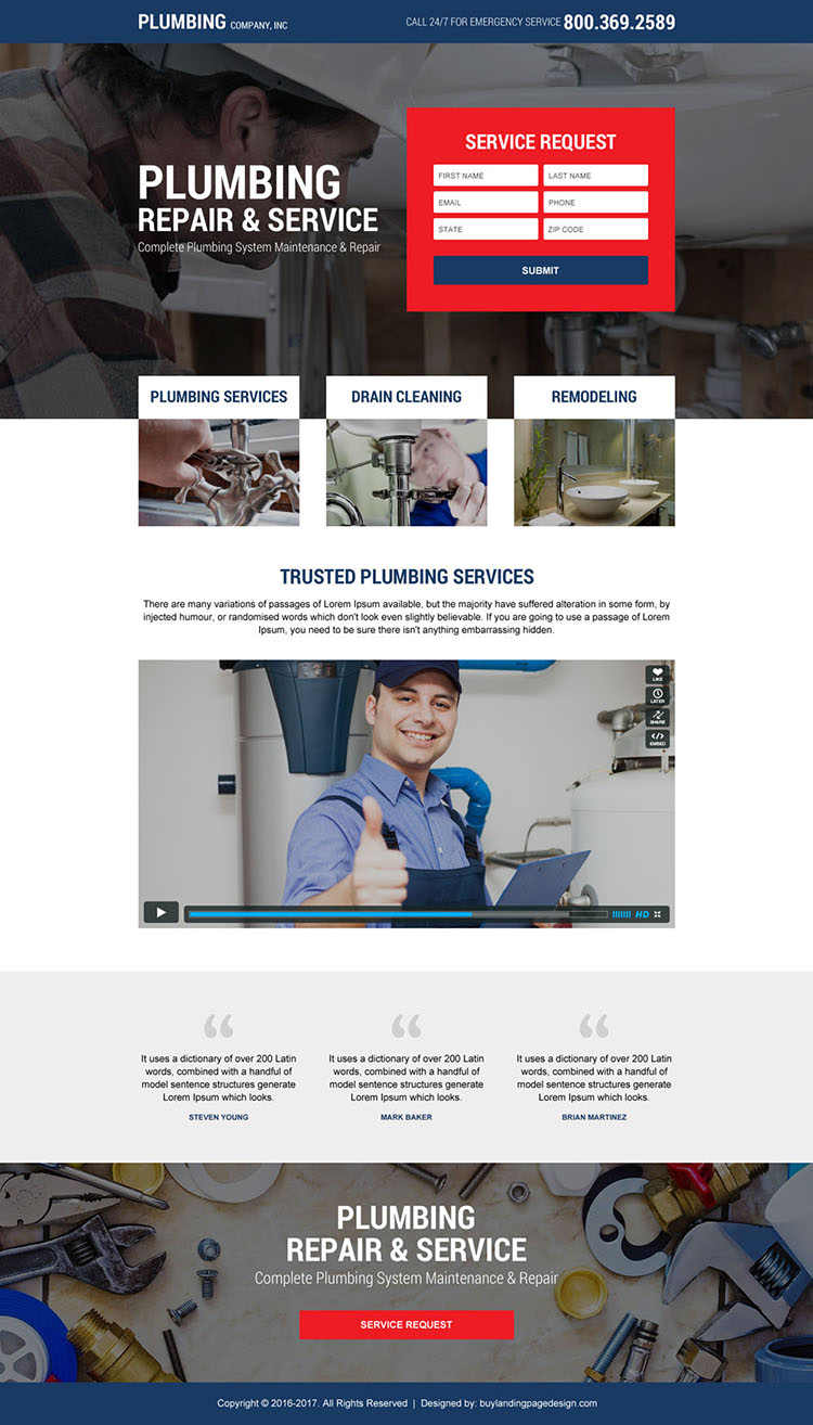 plumbing service company responsive landing page