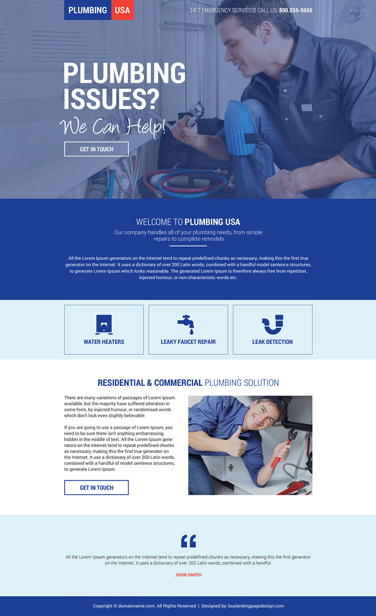plumbing service in USA mini landing page design