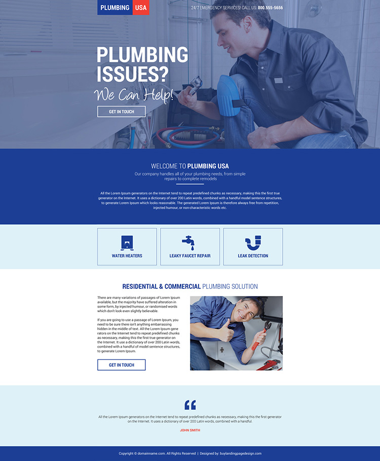 responsive plumbing solution mini landing page design
