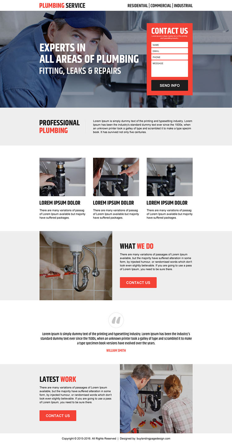 plumbing service clean lead generating landing page design