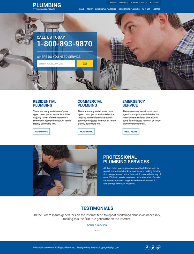 plumbing service responsive zip capturing website design