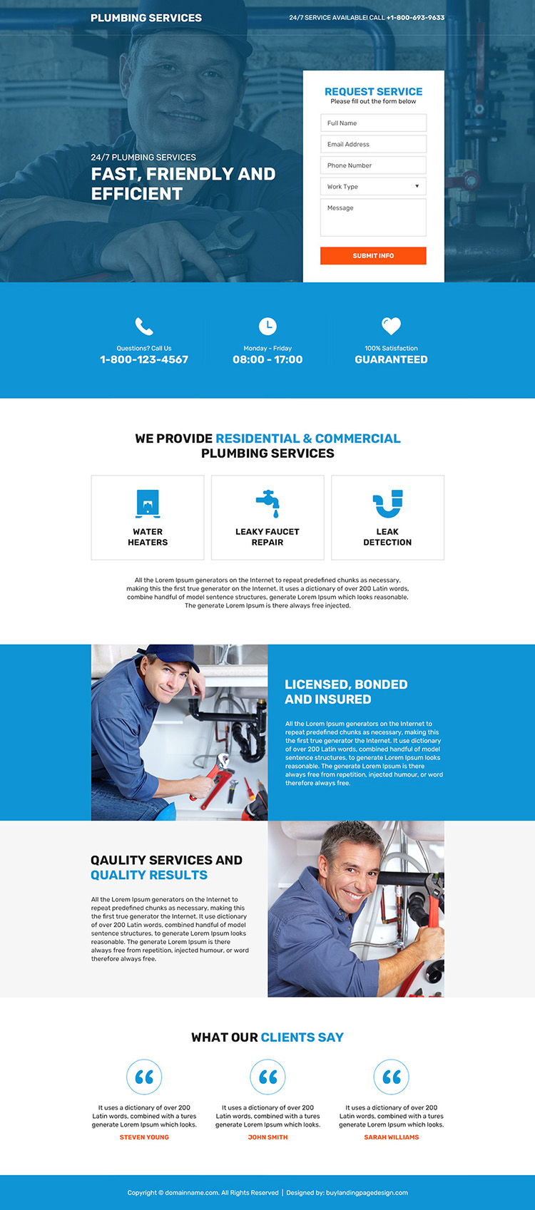 residential and commercial plumbing service responsive landing page