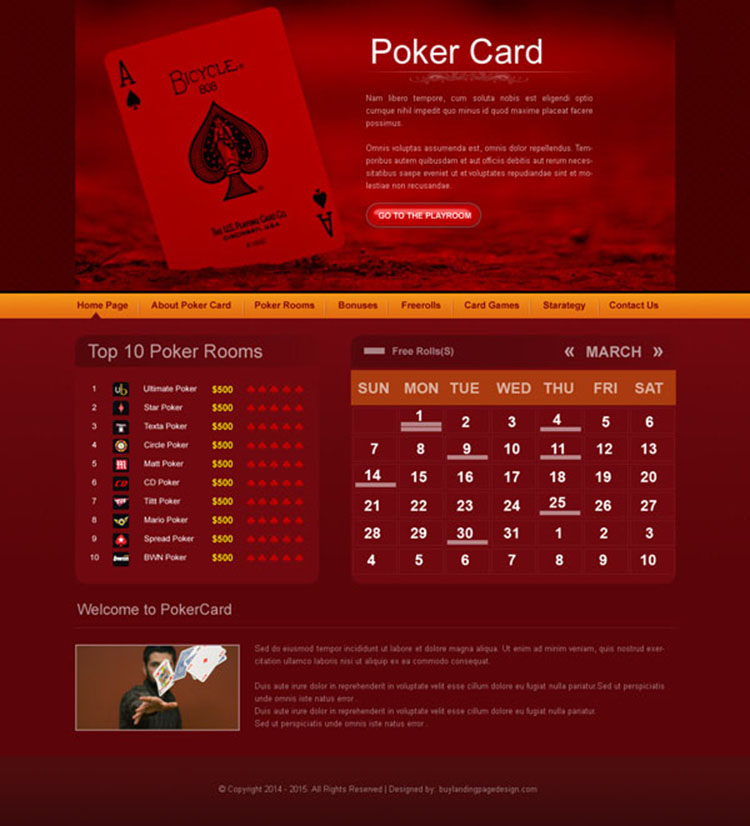 online poker website template design psd to create beautiful website