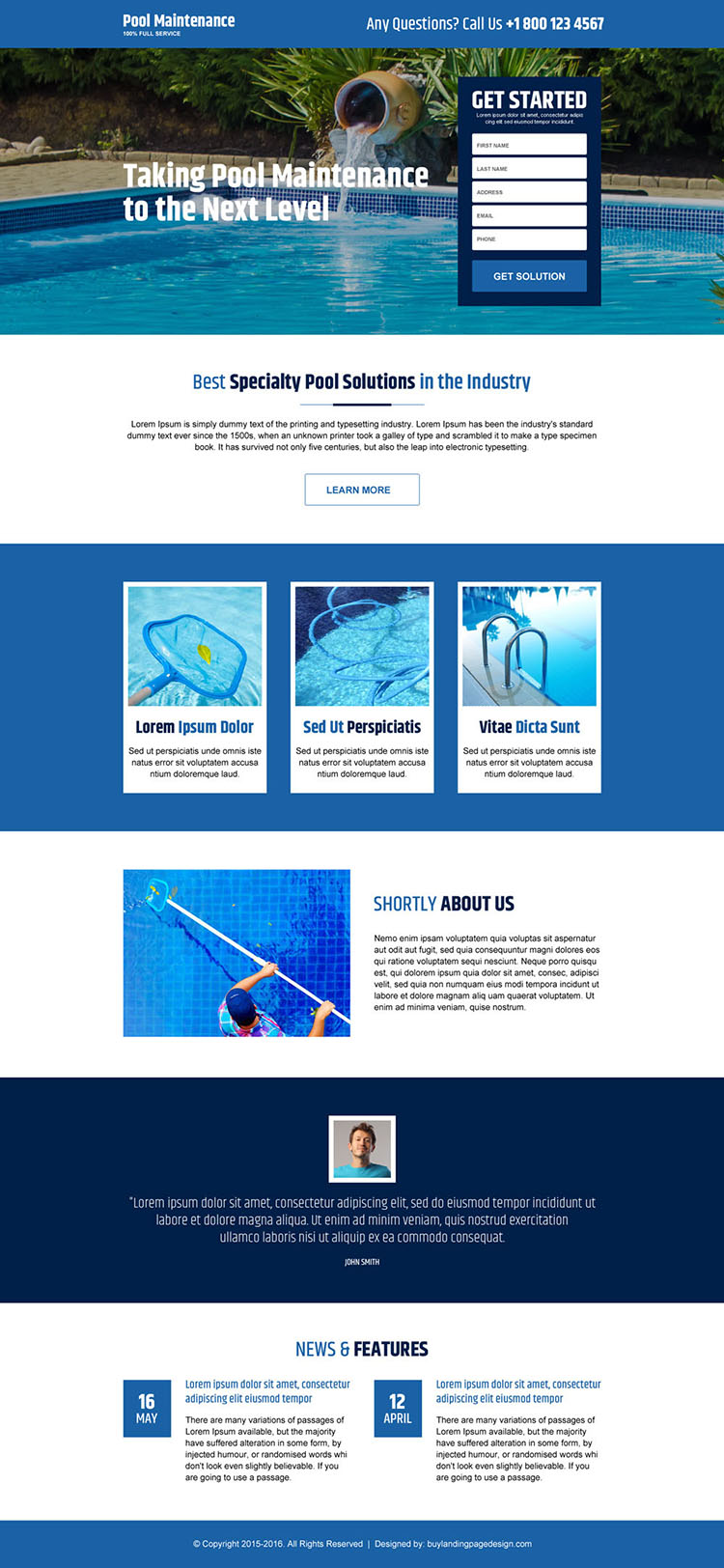 swimming pool cleaning and maintenance service lead capture landing page
