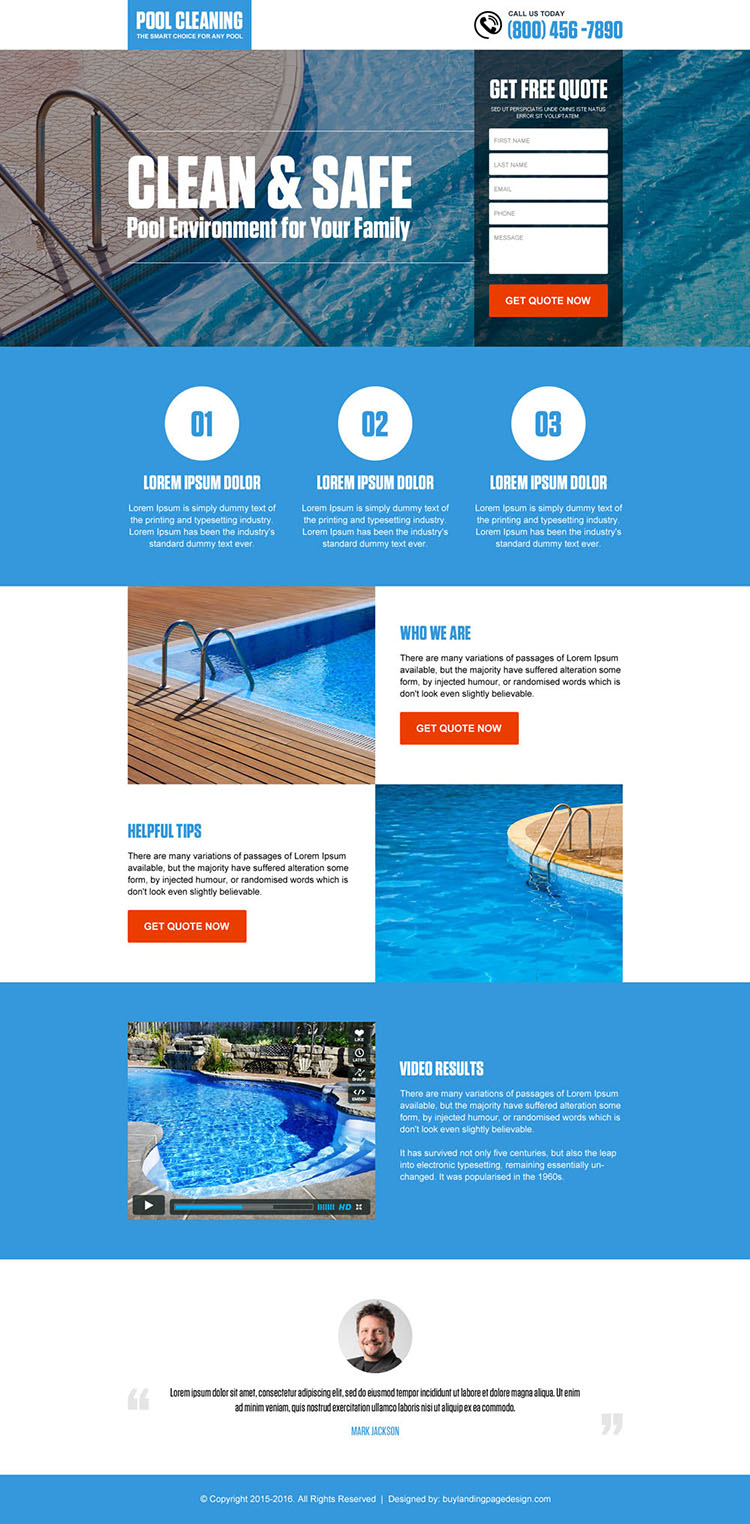 pool cleaning service lead capture landing page design