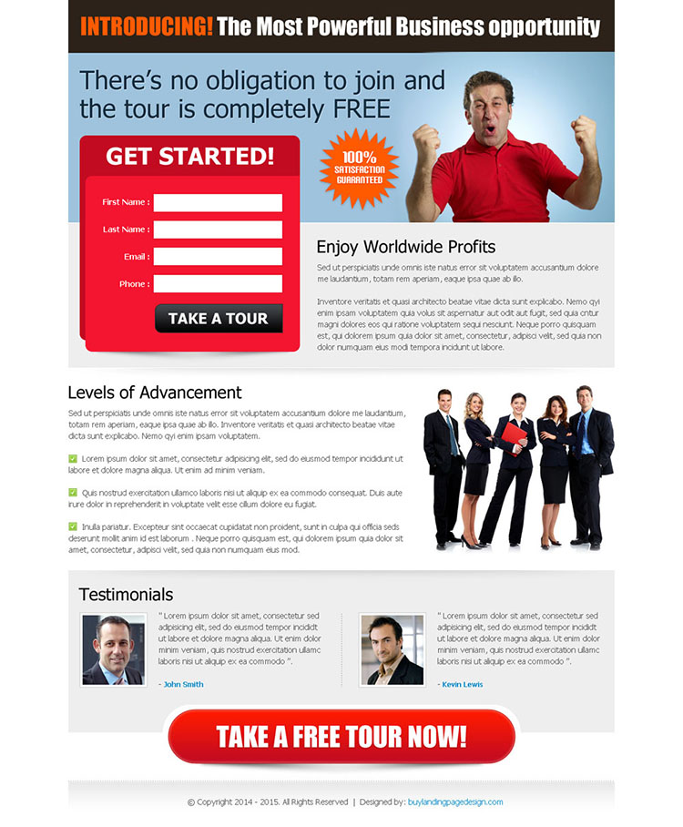 most powerful business opportunity converting and attractive squeeze page lander design