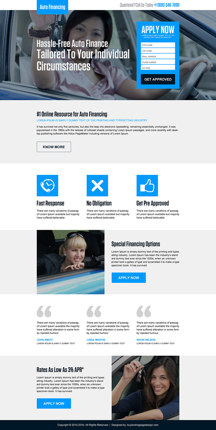 approve hassle free auto finance responsive landing page design