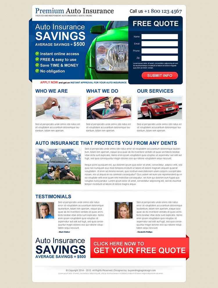 premium auto insurance service converting lead gen landing page design