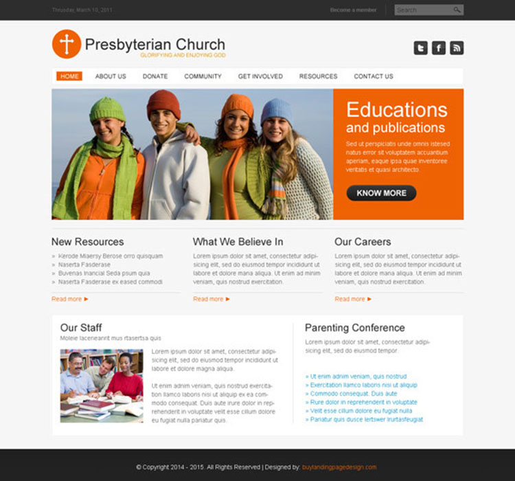 presbyterian clean and converting church website template design psd at affordable price