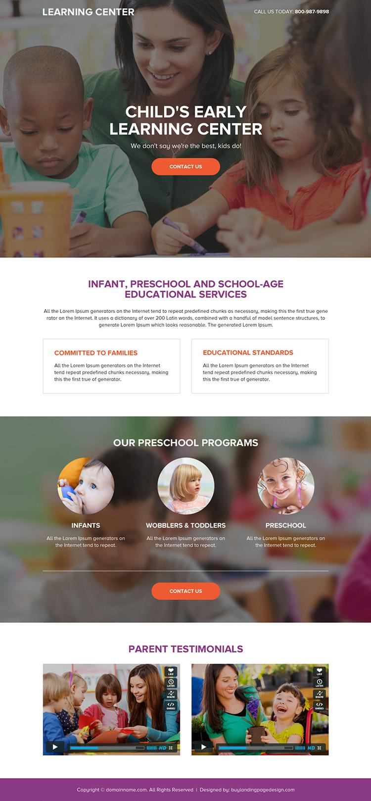 preschool education service responsive landing page design