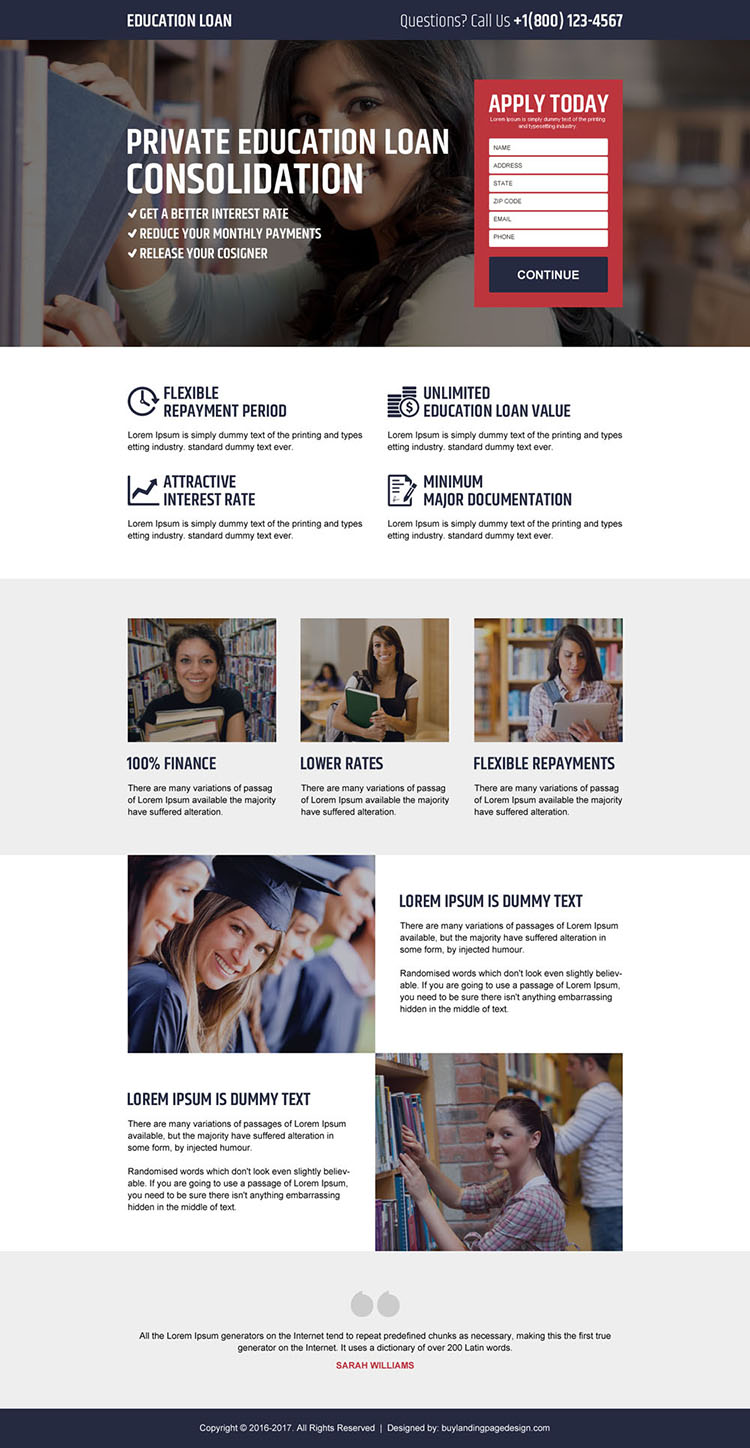 private education loan landing page design