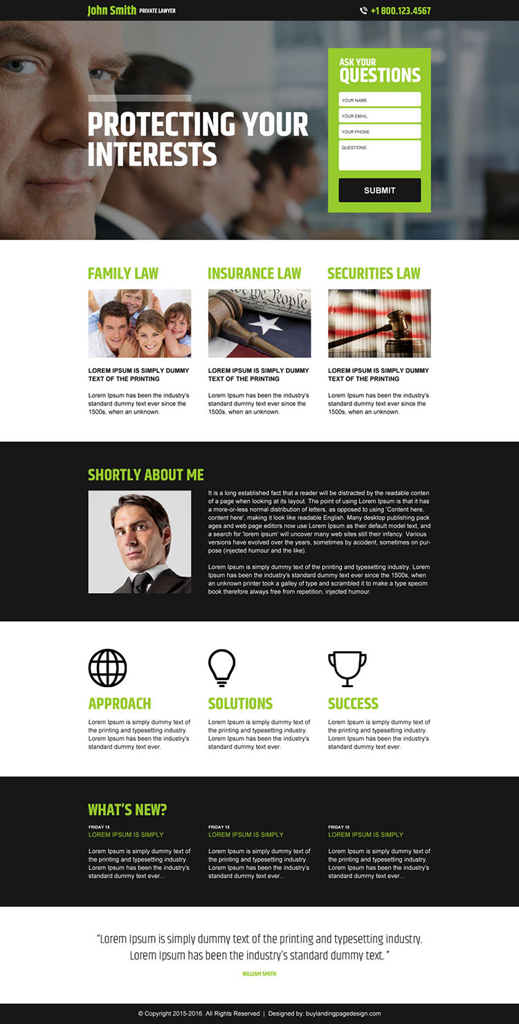 private lawyer lead capture landing page design