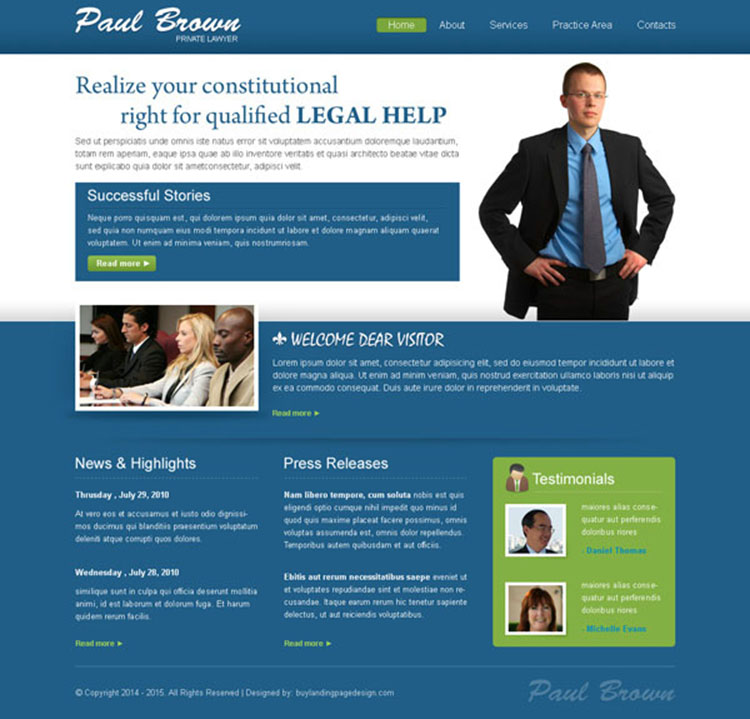 clean and effective website template design psd for lawyer personal website design