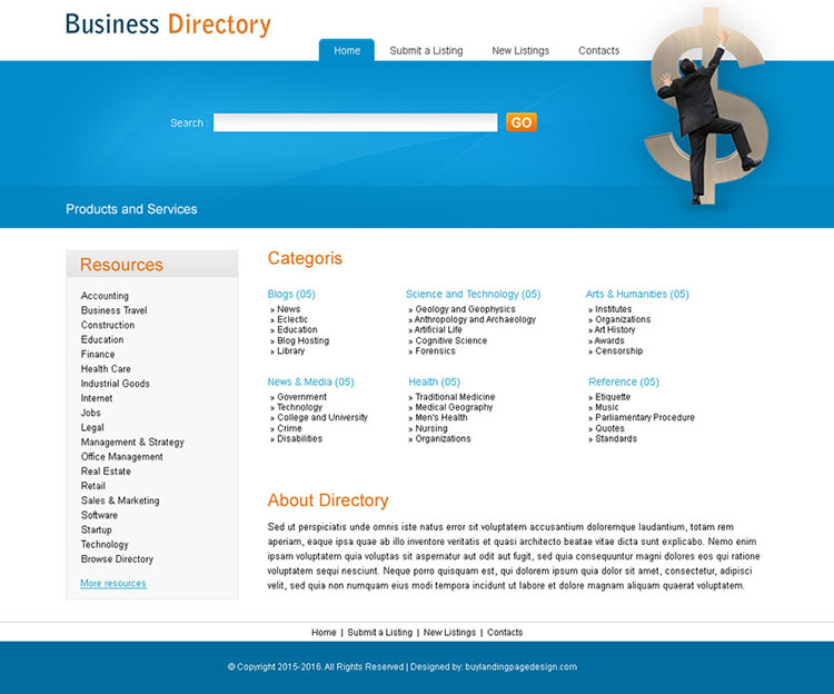 product and services directory website template design psd