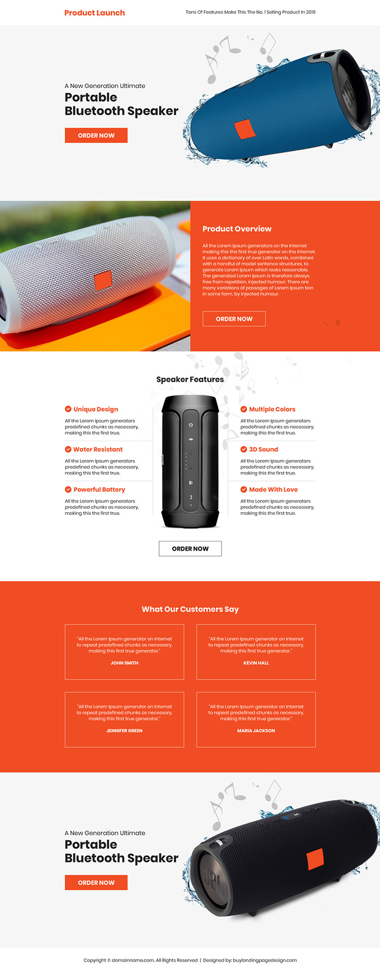 portable bluetooth speaker selling landing page design