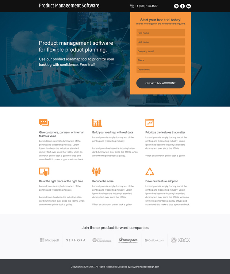 product management software free trial responsive landing page